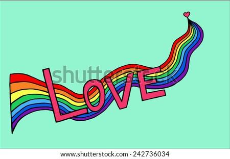heart birth love with rainbow. Hand-drawn/ Vector illustration - stock vector