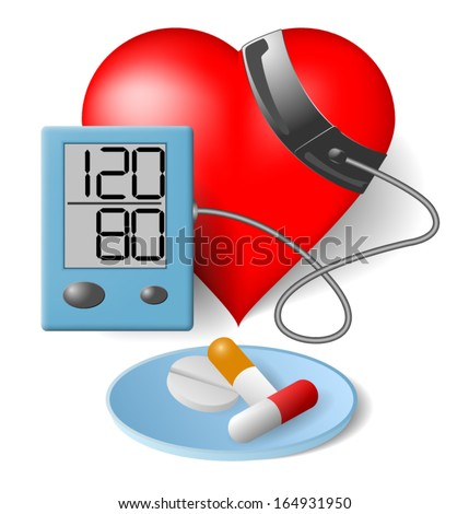 Heart - Blood pressure monitor and pills - stock vector
