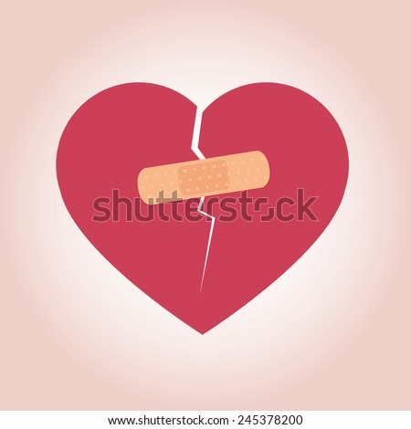Heart Broken Icon - stock vector