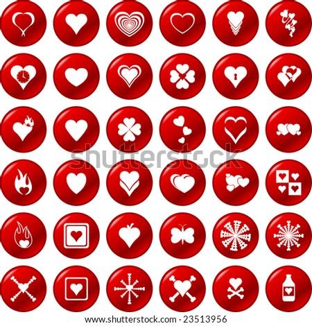 heart button set - stock vector