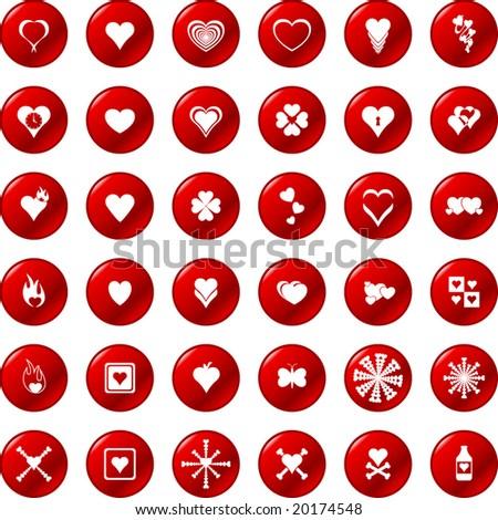 heart buttons set 1 - stock vector