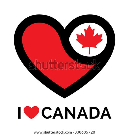 Heart Canada icon. I love Canada sign. Concept flag with heart shape Canada symbol. Love heart icon on white background. Vector illustration. - stock vector