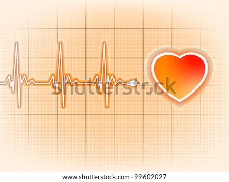 Heart cardiogram with shadow on orange. EPS 8 vector file included