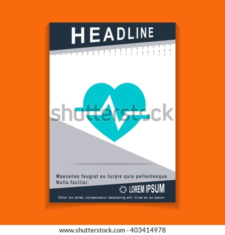 heart cardiology icon, flyers brochure Vector Layout template, size A4 - stock vector