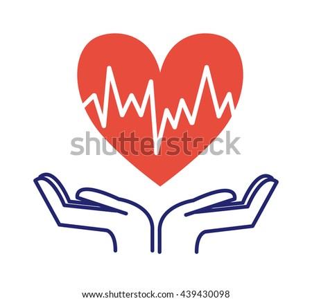 Heart care hand holding heart icon isolated vector symbol. Cardio symbol heartbeat shape heart care. Heart care help people sign. Life cardiology doctor icon. Health symbol medicine concept. - stock vector