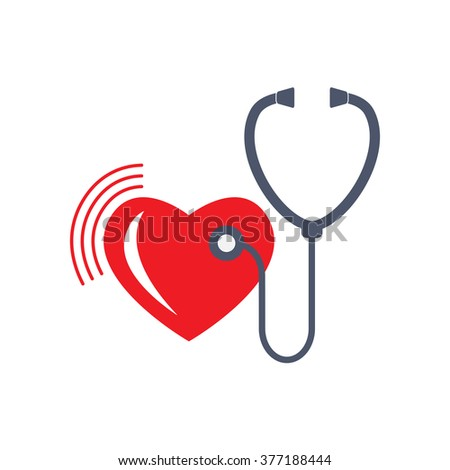 Heart care sign. Stethoscope and heart icon isolated on white background. Vector symbol or element for medicine design.