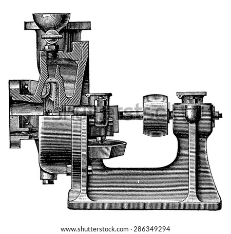 Heart centrifugal pump, vintage engraved illustration. Industrial encyclopedia E.-O. Lami - 1875. - stock vector