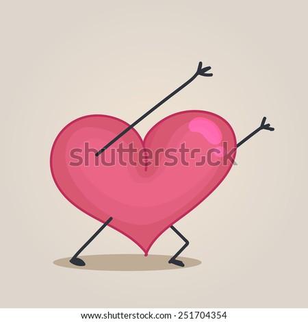 Heart character pushing - stock vector