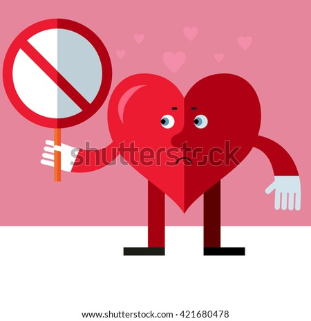 Heart character with forbidden sign. Flat style vector illustration on pink background. Valentine day greeting card. love symbol