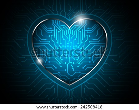 heart circuit abstract technology background - stock vector