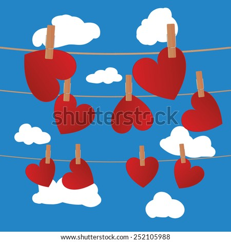 Heart clipped on rope on blue sky with clouds - stock vector