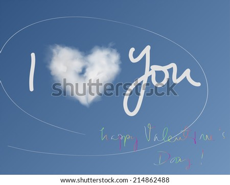 Heart Cloud Valentine Card. Hand drawn vector illustration of a heart shaped cloud and scribble, on blue background.  - stock vector