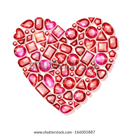 Heart collected of red gemstones. Good for valentine's day design.
