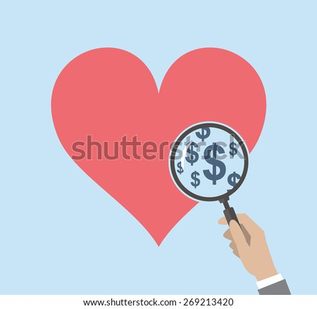 Heart concept. Could be related to gold-digging, prostitution and similar.  - stock vector