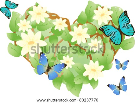 heart, consisting of leaves and flowers with butterflies - stock vector