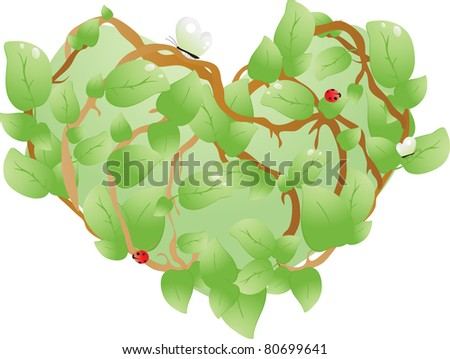 heart, consisting of leaves with ladybug - stock vector