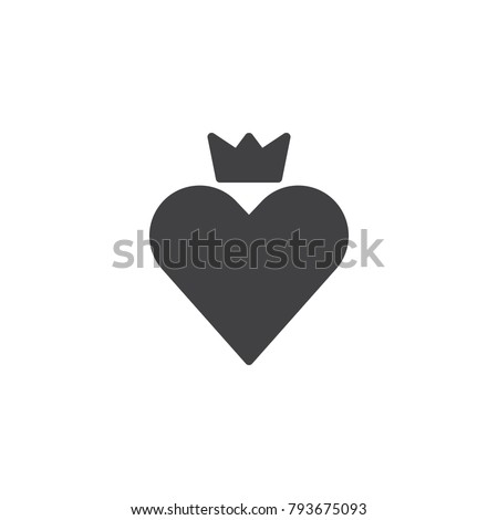 Heart Crown Icon Vector Filled Flat Stock Vector 793675093
