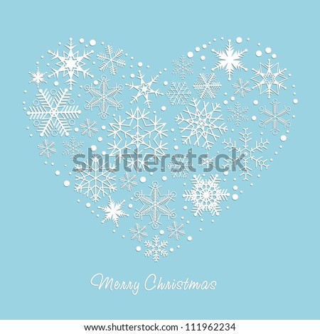 Heart Design elements. Winter snowflakes. Vector background. Christmas, New Year  illustration. - stock vector