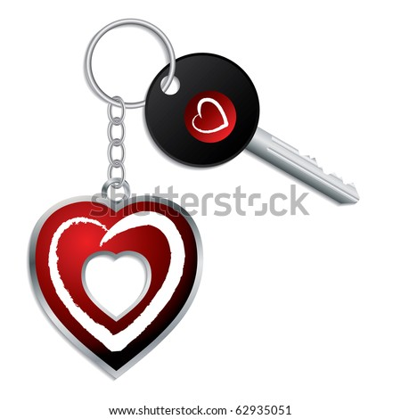 Heart design key with keychain and keyholder - stock vector