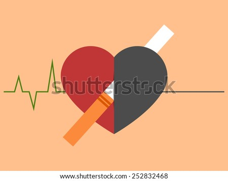Heart disease and death caused with smoking. Cardiogram changing to straight line - stock vector