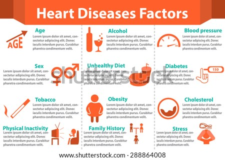 Heart disease factors infographics for for medical. Isolated icon and object - stock vector
