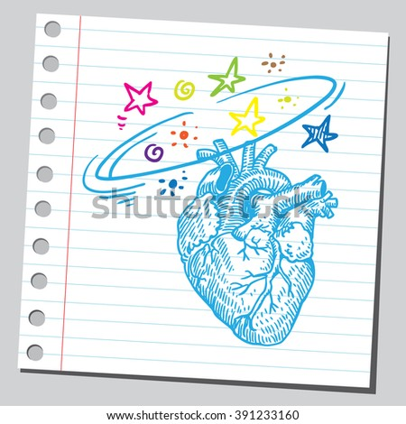 Heart dizziness - stock vector