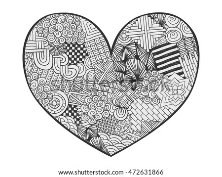 Heart Doodle Coloring Page Zentangle Abstract Stock Vector HD ...
