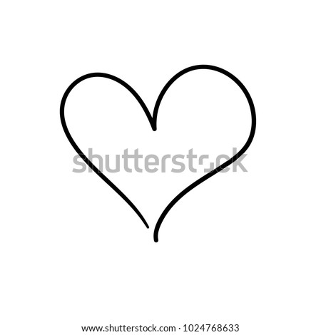 Heart drawing by hand illustration heart stock vector for Black heart outline tattoo meaning