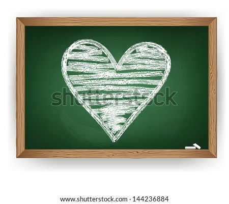 heart drawn in white chalk - stock vector
