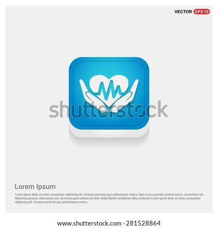 heart ecg in hand icon Icon - abstract logo type icon - blue abstract 3d button with light board and shadow on gray background. Vector illustration - stock vector