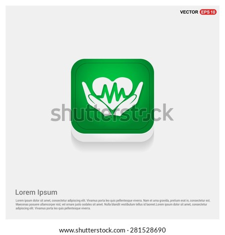 heart ecg in hand icon Icon - abstract logo type icon - green abstract 3d button with light board and shadow on gray background. Vector illustration - stock vector