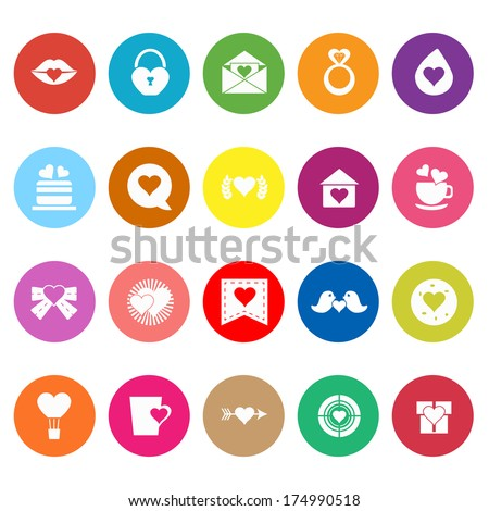 Heart element flat icons on white background, stock vector - stock vector