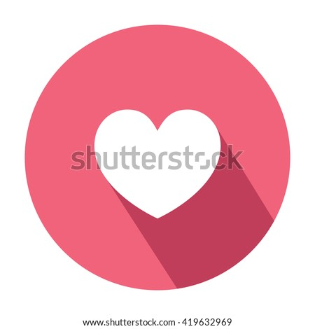 Heart Emoticon Symbol Flat Style Shadow Stock Vector 419632969