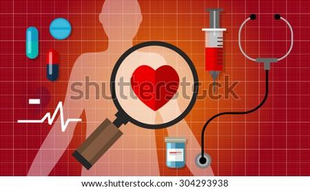 heart failure disease health care - stock vector