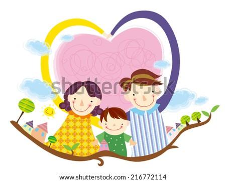 Heart family. Family Love. Happy family. - stock vector