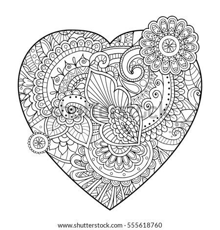 heart zentangle coloring pages - photo#20