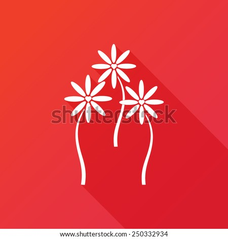Heart flower icon red background - stock vector
