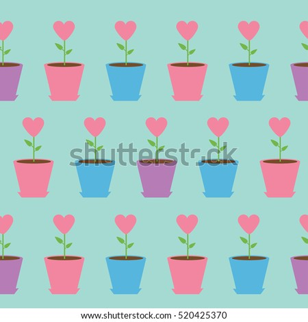 heart flower pot seamless pattern wrapping stock vector 520425370