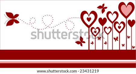 heart flowers with butterfly two  of three - stock vector