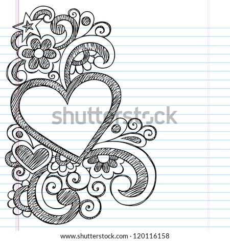 Heart Frame Border Back to School Sketchy Notebook Doodles- Vector Illustration Design on Lined Sketchbook Paper Background - stock vector