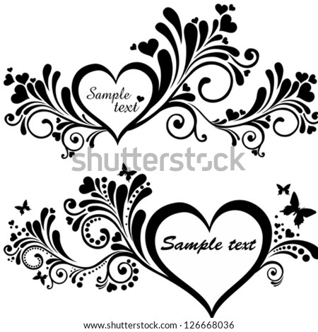 Heart Frame Butterfly Collection Design Elements Stock Vector ...