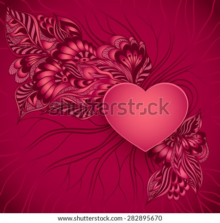 Heart frame with doodle flowers in red colors for advertising perfumer  cosmetic or for congratulation or invitation  of  love  holiday or for design of package  or other things - stock vector