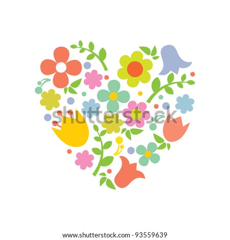 Heart from flowers. Vector valentines card. - stock vector