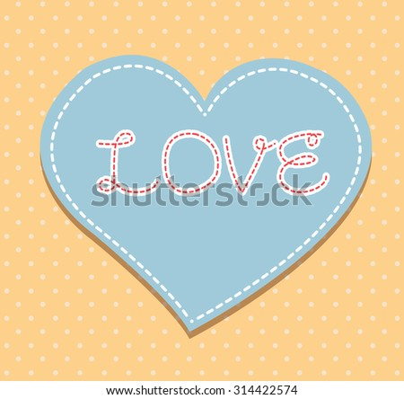 Heart from paper Valentines day card vector background. cut blue orange paper - stock vector