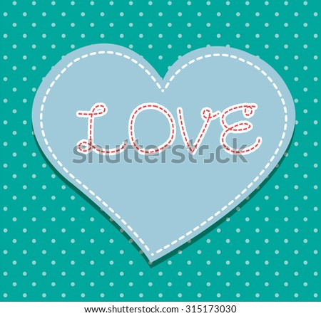 Heart from paper Valentines day card vector background. cut blue paper - stock vector
