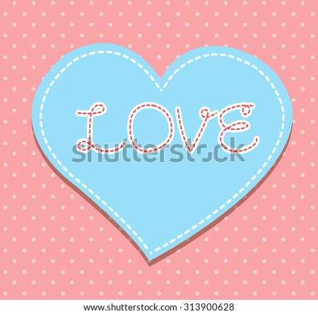Heart from paper Valentines day card vector background. cut paper - stock vector