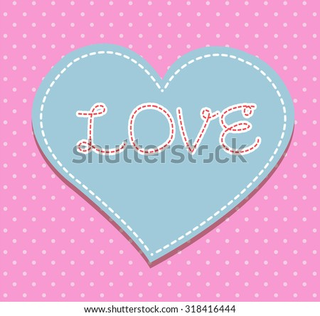 Heart from paper Valentines day card vector background. cut pink paper - stock vector