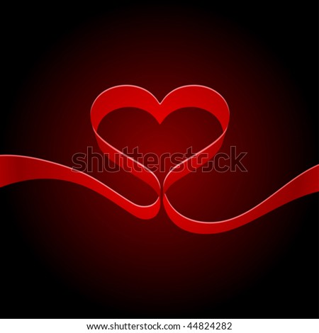 Heart from red ribbon background