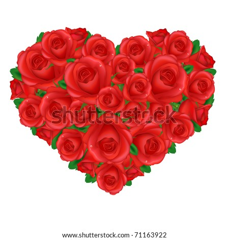 Heart From Red Roses, Isolated On White Background, Vector Illustration