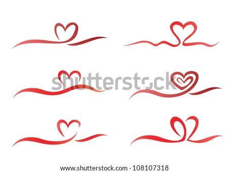 Heart from ribbon set of vector symbols - stock vector